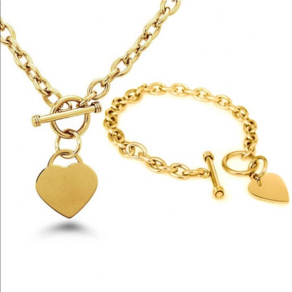 CB1973 Jewelry - Gold Plated Toggle Heart Necklace & Bracelet Set